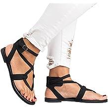 Womens Flip Flops Buckle Strap Summer Beach Flat Gladiator Sandals Crisscross with Heels