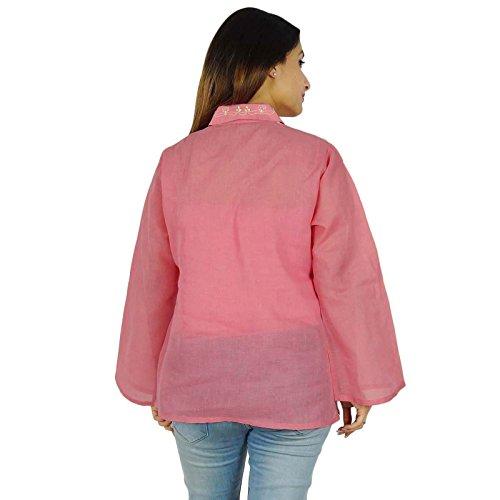 Casual Top túnica de regalo para ella diseñador Chikan bordado Kurta Mujeres Kurti Malva-1