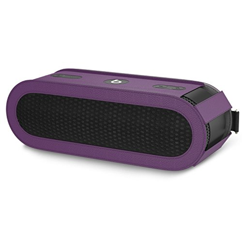 MoKo Carrying Case for Beats Pill+, Premium Vegan PU Leather Protective Cover Sleeve Skins for Dr. Dre Beats Pill+ Portable Bluetooth Speaker, with Holding Strap & Carabiner, PURPLE