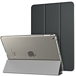 MoKo Case for New iPad 2017 9.7 Inch - Ultra Slim Lightweight Smart-shell Stand Cover with Translucent Frosted Back Protector for Apple All-New iPad 9.7 Inch 2017 Release Tablet, Space GRAY