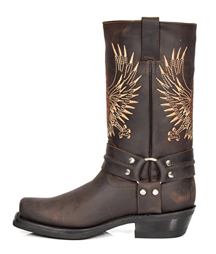 08be Leather Of punta Leather hi Cowboy tacchi western Boots On quadrata House Brown Slip Vitello Zg74xq