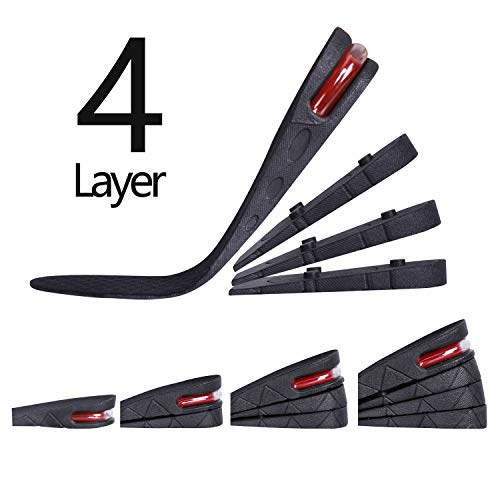 4-Layer Unisex Height High Increase Shoe Insoles Lifts for Men Women Shoe Pad Lift Kit Air Cushion Heel Inserts 4 Layer (3.54