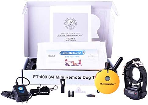 Educator E-Collar ET-400 ET-402 Dog Training Collar System with Remote – 3 4 Mile Range – Waterproof, Vibration, Tapping, Sensation – Includes eOutletDeals Pet Towel