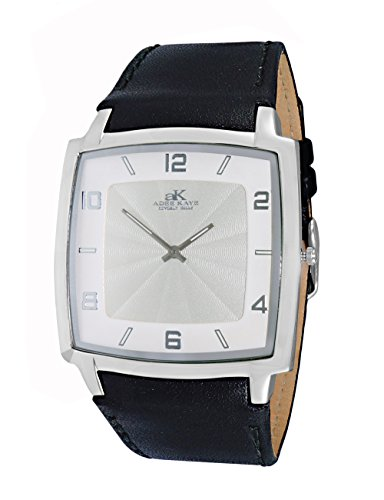Mens Swiss Stainless Steel & Leather Watch by Adee Kaye-Silver tone