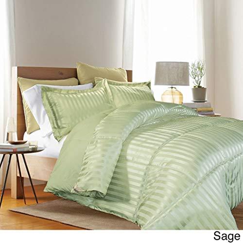 3 Piece Sage Green Solid Stripes Pattern Comforter King Set, Elegant Vertical Stripe-Inspired Design, Plush Down Alternative Fill Super Soft & Comfy Bedding, Lightweight, Microfiber, Polyester