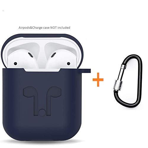 Amasing Case 2 in 1 Accessories Kits Compatible for Airpods Protective Silicone Cover and Skin Compatible for Airpod Case with Clips Keychain Blue