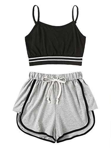SweatyRocks Women's 2 Piece Outfit Strapy Crop Top and Shorts Set Tracksuits Black Grey L