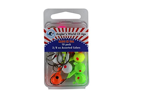 (Angler's World of Jigs - Round Freshwater Fishing Jig Heads - Bright Assorted Colors - Two Tone Glow (3/8 oz Assorted Colors, 10 Pack))