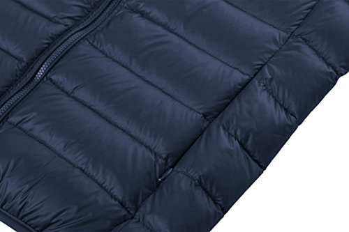 Wantdo Mujer Abrigo Chaqueta Cazadora De Plumón Con Capucha portátil Ligero De Ultra Azul Marino
