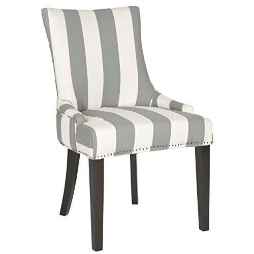 Safavieh Mercer Collection Lester Dining Chair, Grey and Bone Stripe and Espresso, Set of (Contemporary Coastal Stripe)