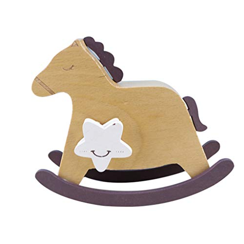 Staron Music Boxes for Girls Rocking Horse Vintage Elm Music Box Creative Wood Crafts Music Box Gifts Birthday Gift (B) (Accents Home Horse Rocking)