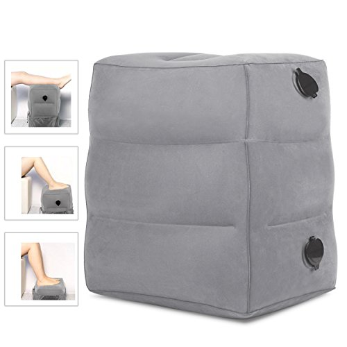 HAOBAIMEI Adjustable Height Travel/Airplane Pillow for Leg/Foot Rest, Inflatable Pillow for kids to Lay Down or Sleep on Long Flights,Suitable for Airplanes, Cars, Trains, Office Napping (Deep Grey)