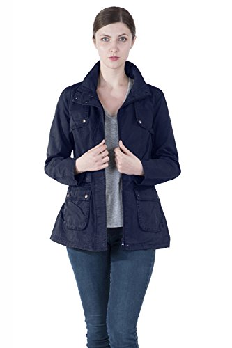 n Stand Collar Inner Drawstring Adjustable Waist Zipper Plus Size Jacket ()