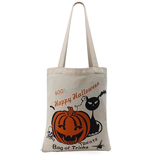 Halloween Pumpkin Candy Basket For Kids Canvas Tote Library Bag Convenient For Daily Use (White With (Halloween Candy Baskets)