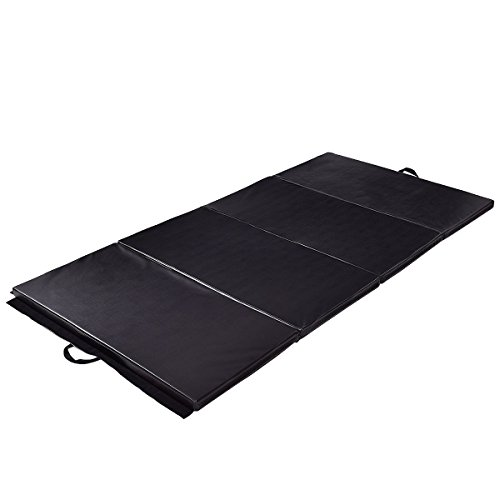 Exercise Mat 4'x10'x2 Gymnastics Folding Portable Exercise Aerobics Fitness Gym Black with Ebook