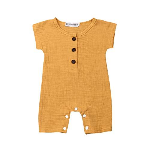 Newborn Baby Girl Boy Jumpsuit Romper Cotton Button Down Short Sleeve One Piece Bodysuit Onesie Toddler Baby Clothes (Yellow, 90(12-18M))