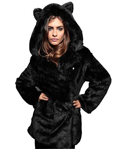 Noir Black Chaude Moelleux XL Manteau Automne Manches Femme Veste Huaishu Hiver Longues 6wRCpqRv