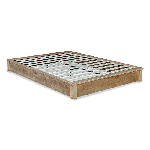 MUSEHOMEINC California Rustic Solid Wood Platform Bed Low-Profile Style with Wooden Slats Support/No Boxspring Needed,Beige Finish,Queen ()
