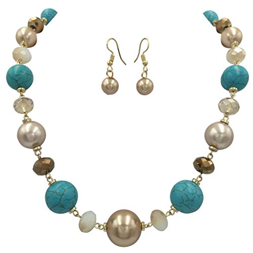Gypsy Jewels Single Row Simple Beaded Statement Multi Color Necklace & Dangle Earrings Set (Imitation Turquoise & Brown)