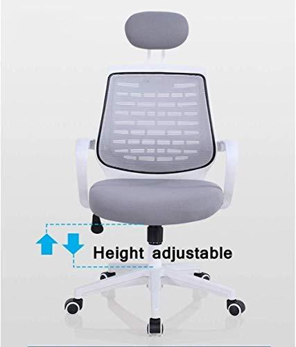 Mesh kontorsstol, ergonomisk hög rygg dator skrivbord svängbar stol med nackstöd och nylonarmstöd, justerbar knästol