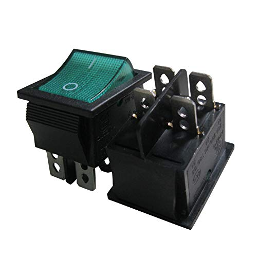 TWTADE / 5Pcs Green Light ON/OFF DPST 4 Pin 2 Position Mini Boat Rocker Switch Car Auto Boat Rocker Toggle Switch Snap AC 250V 125V/20A (Quality Assurance for 1 Years)XW-604AA1/G