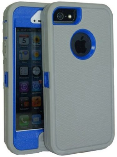 Brand New Iphone 5 5S Body Armor Defender - Comparable to Otterbox Defender (Light Grey on Blue)