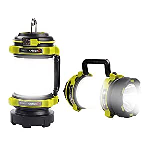 NULIPAM Rechargeable Camping Lanterns Dimmable LED Flashlight with USB 350Lum 2600mAh Power Bank Hiking Lamp,Searchlight Waterproof/Brightness Adjustable