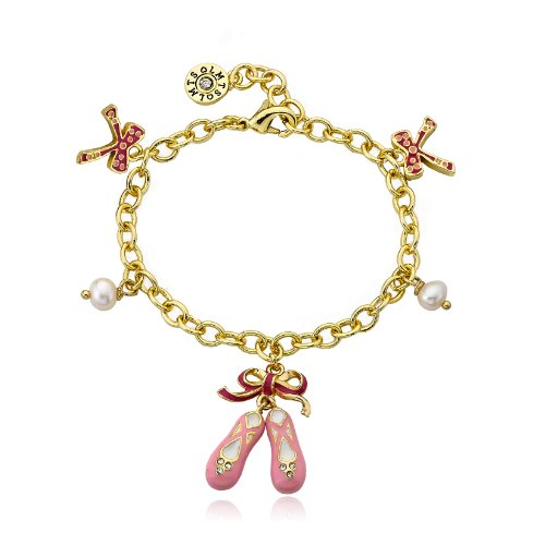 Little Miss Twin Stars 14k Gold-Plated Enamel Ballet Slippers with Bows and Pearls Charm Bracelet