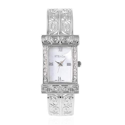 4bd995b35 White Crystal Japanese Movement Water Resistant Cuff Bangle Bracelet Watch  in Silvertone with Stainless Steel Back