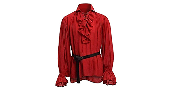 ACEBABY Camisa Medieval Hombre Camisa Retro de Manga Larga