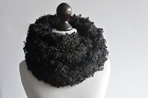 Boucle infinity scarf. Faux fur infinity scarf. Faux fur snood in black. Faux fur neck warmer. Womens chunky scarf. Black boucle neck wrap -