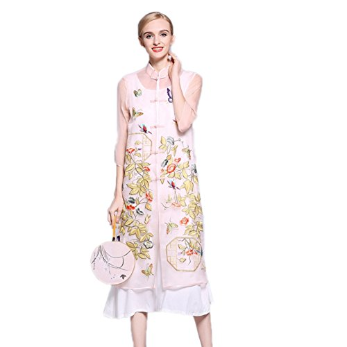 Pink Root Fit Dresses 3 European Loose Women Neck A for Sleeve 4 Collar line Stand Dress Yarn cotyledon pwTq5zOw