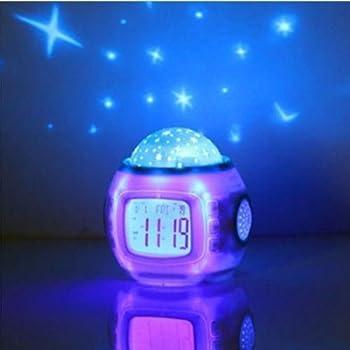 Gentil Towallmark Sky Star Night Light Projector Lamp Bedroom Clock Alarm Music