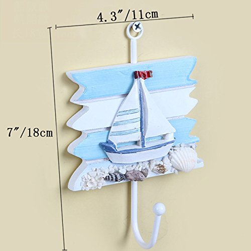 ZZ Lighting Creative Clothes Hook Towel Hat Coat Hangers for Cloakroom/Clothing Shop/Porch Beach Themed Wall Hooks Rustic Wall Decorations Decorative Hanging Hook for Children's Room (4 Hooks)