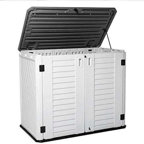 KINYING Horizontal Storage Shed Outdoor Multi-function Storage Cabinet for Backyards Patios Garden, Multiple Opening Directions Convenient Storage Garbage Cans Tools Lawn Mower Bike