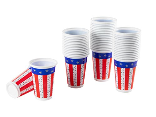 Plastic Party Cups - 50-Count American Flag Party Disposable Plastic Cups, Patriotic Party Supplies for America-Themed Parties, Red, White, and Blue, 16.5-Ounce