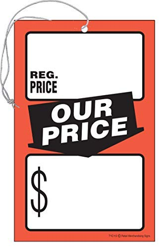 """TYC112 Regular Price Our Price Elastic Knotted Price Tags with Strings Fluorescent Pack of 100 (3 1/2"""" x 5 1/2"""")"""