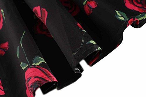 Elastic Mini Waist Dress Skater Mini Women Dresses Black Dress Big Pocket Skirt Summer with Retro for Rose bulges Pleated 8SqxYY