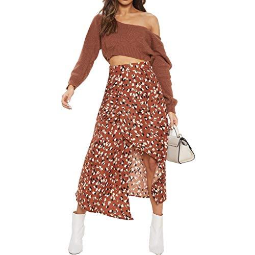 (Clothful Woman Dress, Fashion Women Print Empire Waist Open Fork Irregular Mid-Calf Casual Skirt Brown)