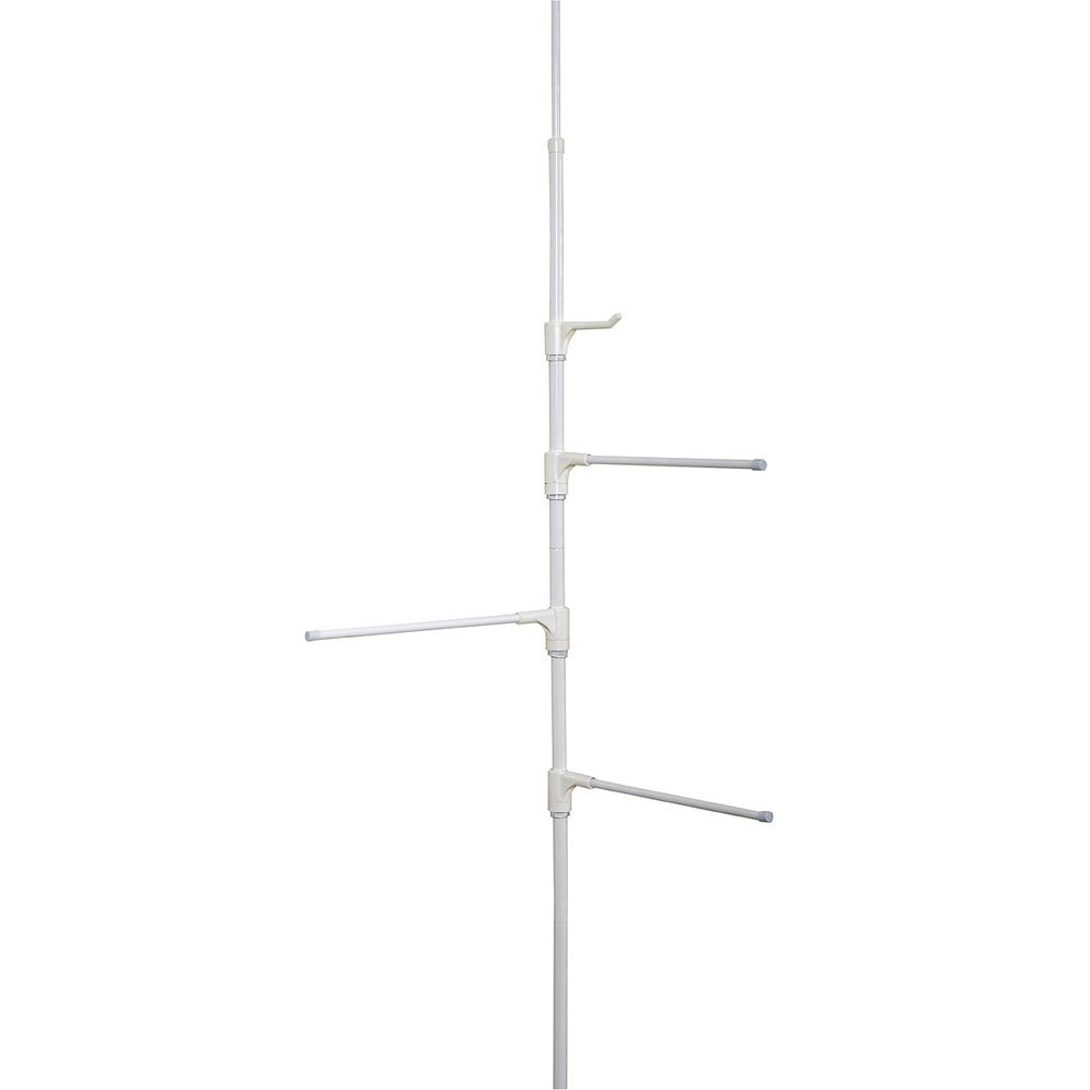 Zenna Home 7013W, Behind-The-Door Towel Bar Or Tension Corner Pole Towel Caddy, White