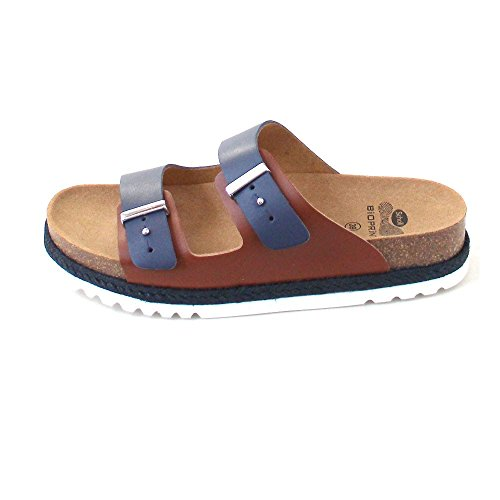 Scholl Olympe Navy Blue Tan Leather Brown