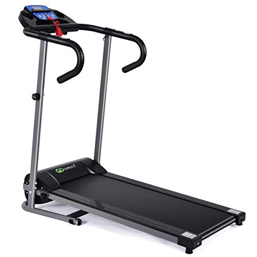 GOPLUS 1100W Folding Treadmill with LCD Display and Pad Holder Running Jogging Machine for Home