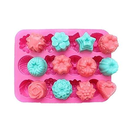 deqi hornear moldes 12 Cavidad moldes de silicona para cupcakes Candy té tarta Fondant Chocolate Jello para Mini magdalenas Brownie pan cake: Amazon.es: ...
