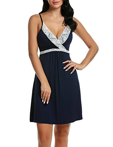 Hotouch Womens Lace Full Slip Sleepwear Chemise Lounge Dress Adjustable Strap Pajamas Navy Blue XL -