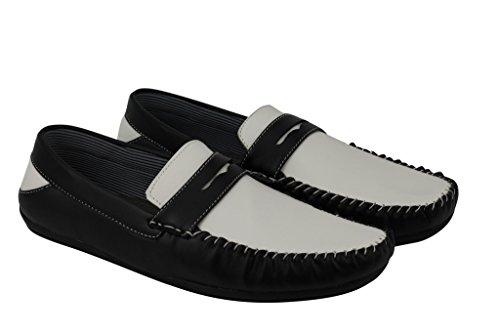 Finta On piatte In Whiteblack Slip Bianco Pelle Marrone scarpe Plateau Casual Nero Mens Smart Mocassino aCIqPC