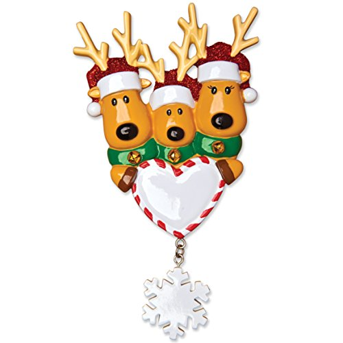 Grantwood Technology Personalized Christmas Ornaments Family Series-New Reindeer Family of 3
