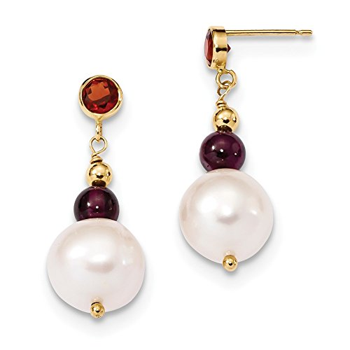 - 14k Yellow Gold Red Garnet 10mm White Near Round Freshwater Cultured Pearl Post Stud Earrings Drop Dangle Fine Jewelry Gifts For Women For Her