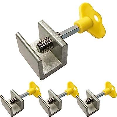Sliding Windows Lock Stop for Home & Office– Sliding Security Door Stop & Child Window Locks with Keys - Aluminum Alloy Door & Windows Safety Lock - Pack of 4