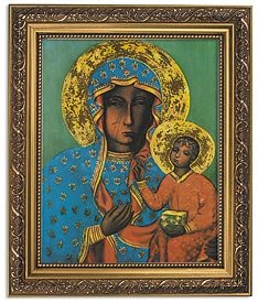 US Gifts Our Lady of Czestohowa Icon Series Icon ImagesPrint in Ornate Gold Finish Frame