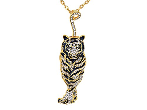 Pendant Art Gold Deco (Alilang Golden Tone Rhinestone Black Enamel Stripe Tiger Pendant Necklace)